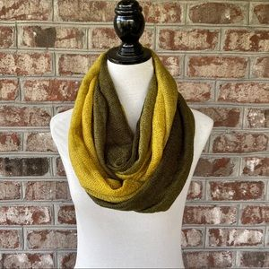 Dark Olive Green Ombre Woven Knit Infinity Scarf